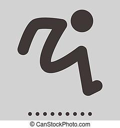 salto, longo, ícone