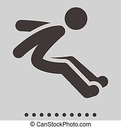 salto, lungo, icona