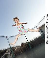 salto, menina, jovem