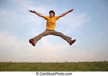 salto, menino, prado