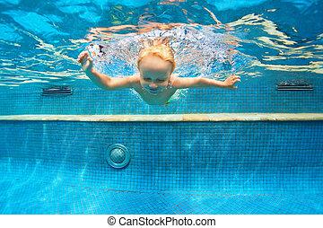 salto, natación submarina, piscina, niño
