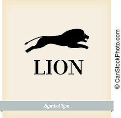salto, símbolo, león