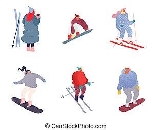 salto, sano, skis., vacaciones, vector, patinaje, esquí, el snowboarding, familia , aislado, flat., ilustración, gente, snowboard, invierno, characters., sports., deporte, feriado, deportista, snowboarder, conjunto