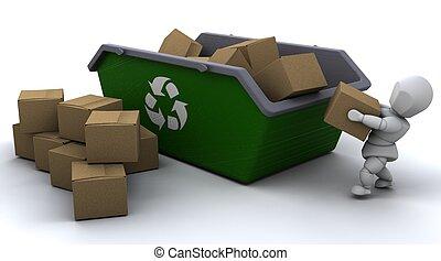 salto, scatole, riciclaggio, scheda, uomo