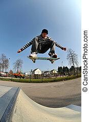 salto, skateboard