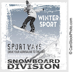 salto, snowboard, colina