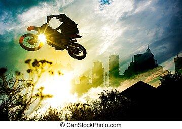 salto, urbano, bicicleta, suciedad