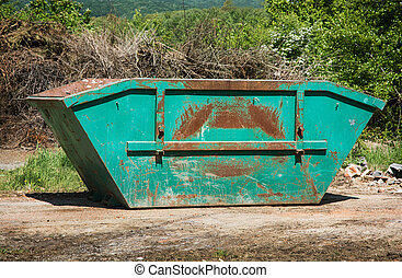 salto, verde, o, dumpster