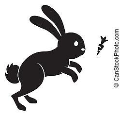 salto, zanahoria, conejo