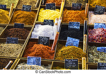 Salts and peppers in a street market
