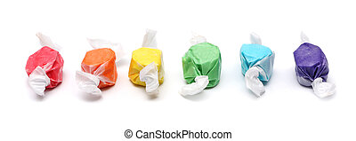 Saltwater taffy isolated on a white background