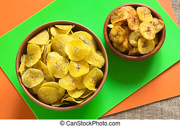 Salty and Sweet Plantain Chips - Overhead shot of salty...