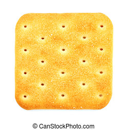 Salty cracker isolated on white background