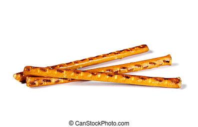 salty cracker pretzel sticks isolated on white