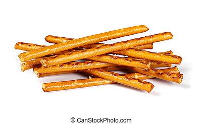 salty cracker pretzel sticks isolated on white background