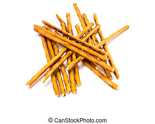salty cracker pretzel sticks isolated on white background