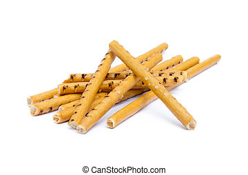 Salty cracker pretzel sticks