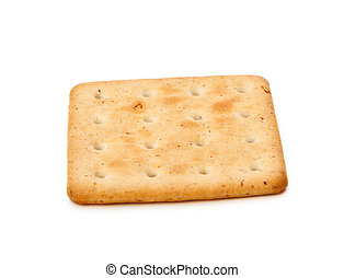 Salty Cracker - single salty cracker isolated on white...