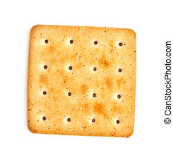 Salty Cracker - single salty cracker isolated on white...