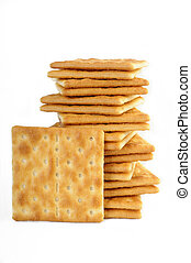 salty crackers on white background