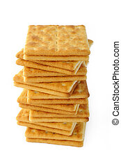salty crackers on white