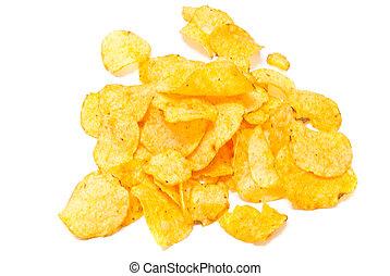 salty potato chips closeup