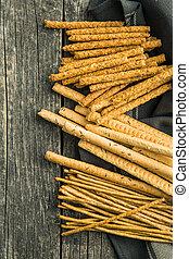 Salty pretzel sticks.