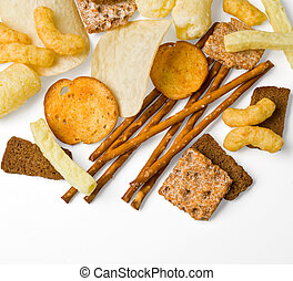 salty snack - Typical salty snack, isolated on white, room...