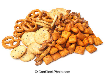 Salty snacks on white background