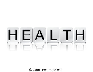 salud, aislado, embaldosado, cartas, concepto, y, tema