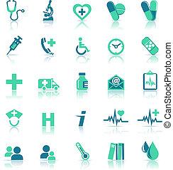 salud, atención médica, verde, iconos