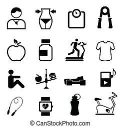 salud, condición física, y, dieta, iconos