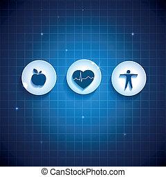 salud corazón, cuidado, concepto, symbols.