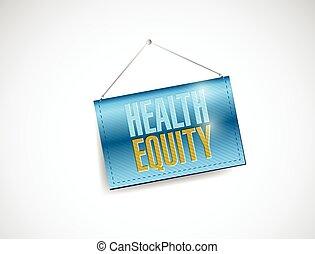 salud, equidad, bandera, ilustración, ahorcadura