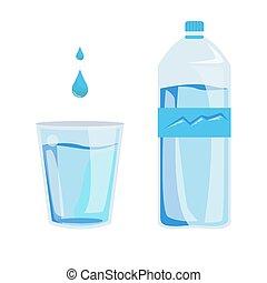 salud, gota de agua, botella, vector, plástico, minerales, publicidad, others., ilustración, vidrio, líquidos, bebidas, mockups, body., branding, infographics, water., sano