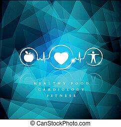 salud, iconos, en, un, brillante azul, geométrico, plano de...