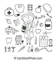 salud, iconos, garabato, ilustration, médico de mujer