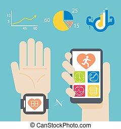 salud, libro, en, smartwatch, y, smartphone
