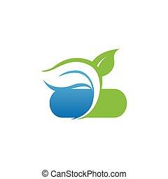 salud, medicina, naturaleza, logotipo, herbario
