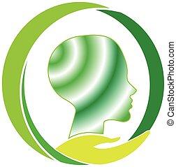 salud mental, cuidado, logotipo