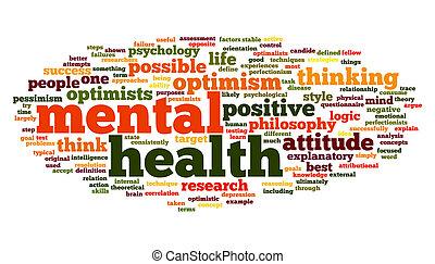salud mental, en, palabra, etiqueta, nube