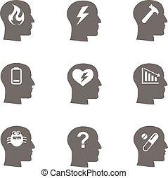 salud mental, iconos, conjunto, énfasis, concepto,...