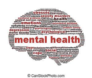 salud mental, símbolo, aislado, blanco