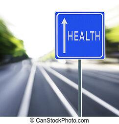 salud, muestra del camino, en, un, rápido, fondo.