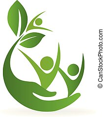 salud, naturaleza, cuidado, logotipo
