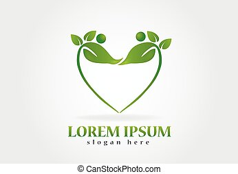 salud, naturaleza, leafs, logotipo