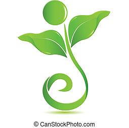salud, naturaleza, logotipo, vector