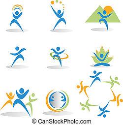 salud, naturaleza, yoga, iconos