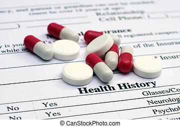 salud, píldoras, historia