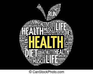 salud, palabra, manzana, nube